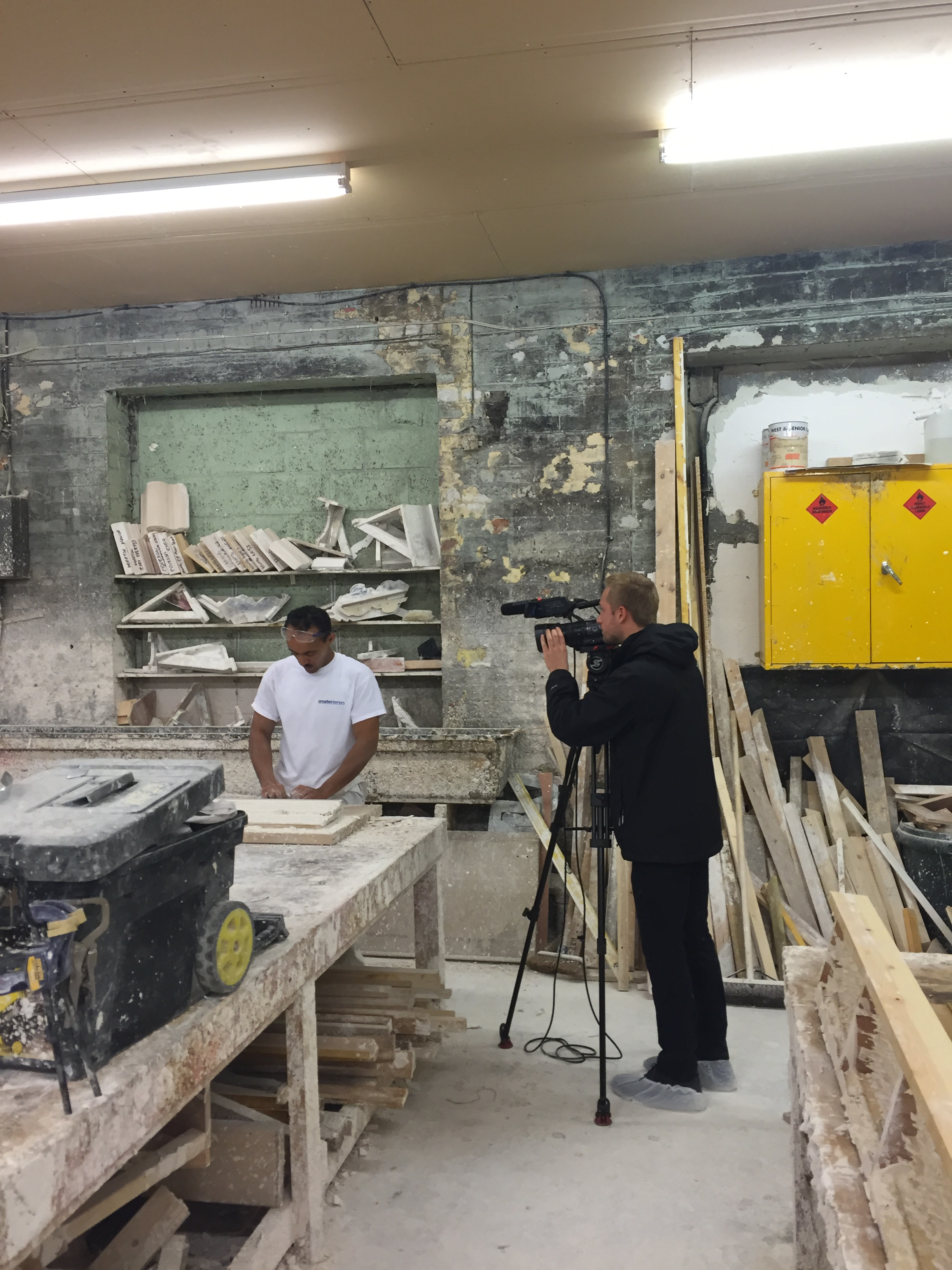 Ameha being filmed for Made in Leeds